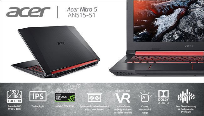 bon plan 599 le pc portable acer nitro 5 i5 gtx 1050 sans os config. Black Bedroom Furniture Sets. Home Design Ideas