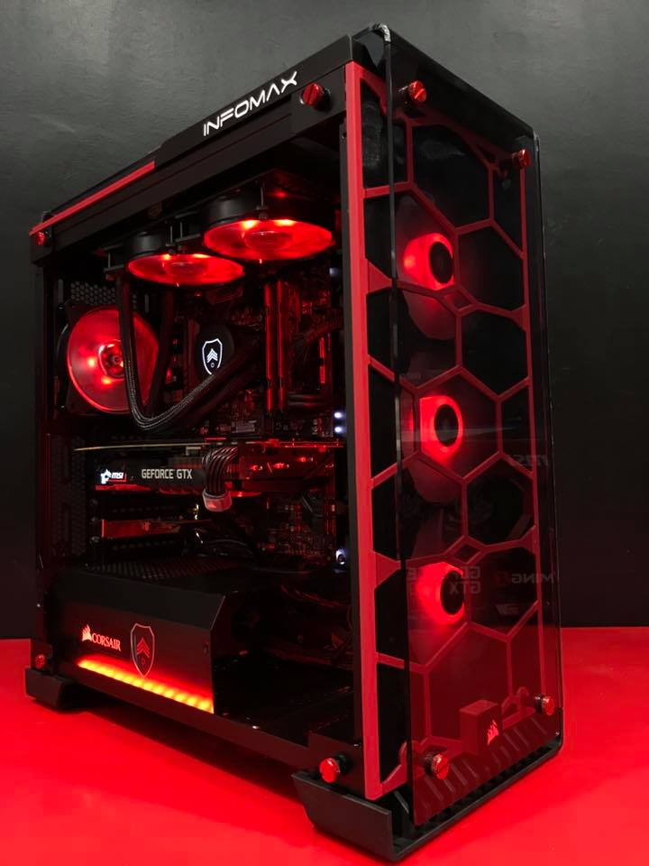 pc gamer 1929 red queen intel i7 8700k et gtx 1080 ti config. Black Bedroom Furniture Sets. Home Design Ideas