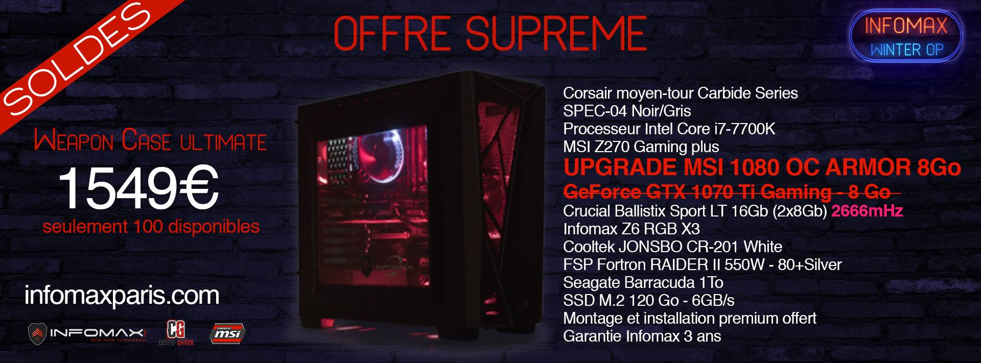 solde sur le pc weapon case ultimate i7 7700k gtx 1080 et 16go de ram config. Black Bedroom Furniture Sets. Home Design Ideas