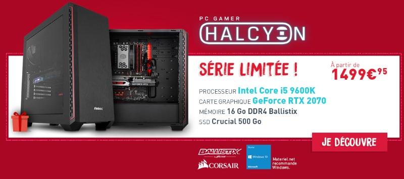 PC de jeu, Processeur Intel Core i5 9600K, NVIDIA GeForce RTX 2070, SSD 500 Go, 16 Go DDR4, Sans OS