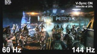 NVIDIA G-Sync: 60 Hz vs 144 Hz | Metro Last Light | V-Sync ON | Divisione verticale - TVtech