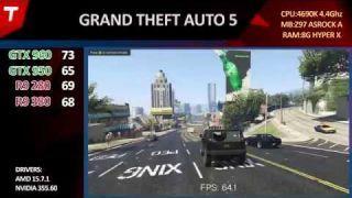 GTA 5 V : GTX 960 vs GTX 950 vs R9 380 vs R9 280