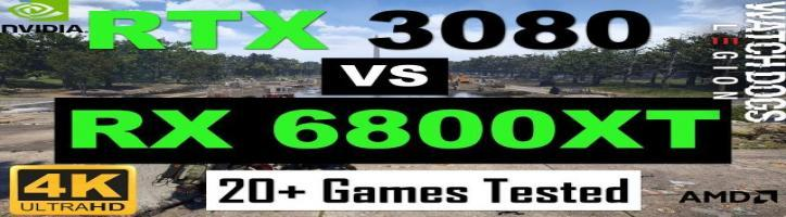 RTX 3080 vs RX 6800XT 20+ Pc games tested Benchmarks | Top 20 popular PC Games