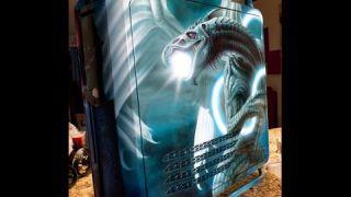 "Artist Steve Nunez paints a custom ""Dragon PC"""