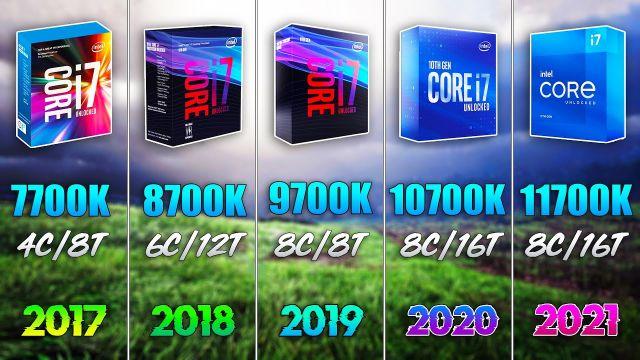 i7 11700K vs i7 10700K vs i7 9700K vs i7 8700K vs i7 7700K - Test in 7 Games