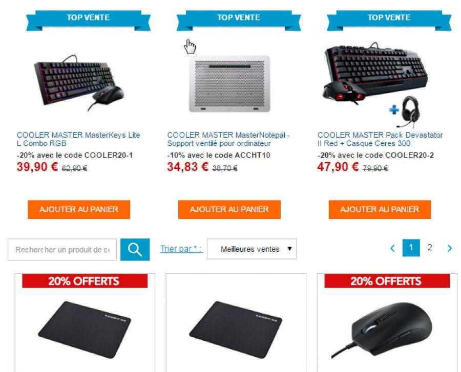 bon plan 20 de remise sur une s lection cooler master config. Black Bedroom Furniture Sets. Home Design Ideas