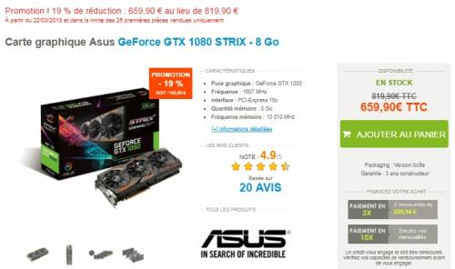 Materiel.net : 19% de réduction sur la Carte graphique Asus GeForce GTX 1080 STRIX - 8 Go