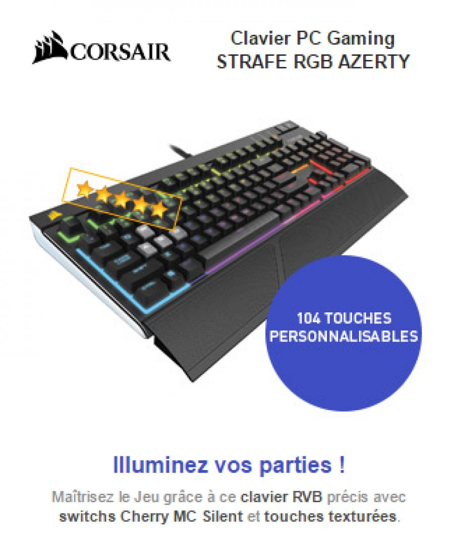 bon plan du jour ldlc corsair gaming strafe rgb azerty noir switches cherry mx red 79 95. Black Bedroom Furniture Sets. Home Design Ideas