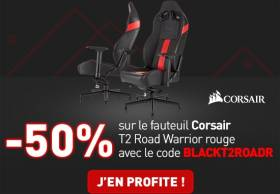 Materiel.net : -194€ sur le pack : Siege Corsair T2 Road Warrior + Tapis MM200 (Noir ou Rouge)