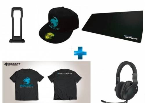 DEAL : 59€ Pack Gaming Roccat - Casque CROSS + Repose Casque + Tapis de Souris XXL + T-Shirt + Casquette