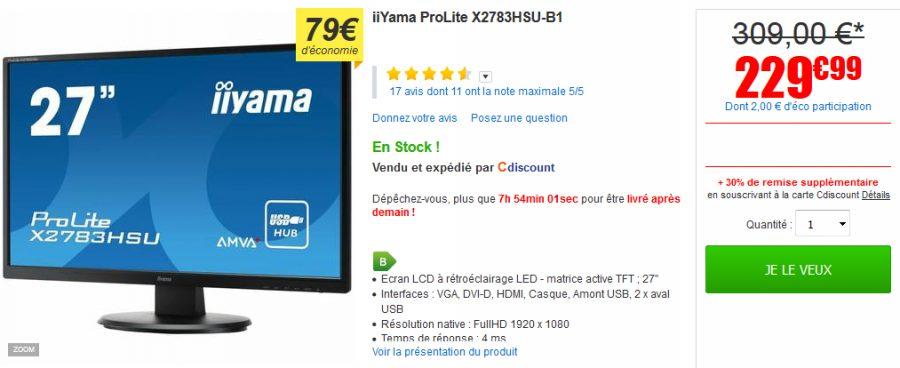 Vente flash ecran 27 iiyama prolite x2783hsu b1 230 for Meilleur ecran 27