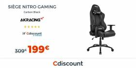 Vente flash : 199€ le siège AKRACING Nitro Gaming Carbon Black