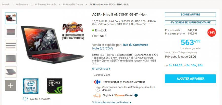 bon plan 563 le pc portable acer nitro 5 i5 gtx 1050 sans os config. Black Bedroom Furniture Sets. Home Design Ideas
