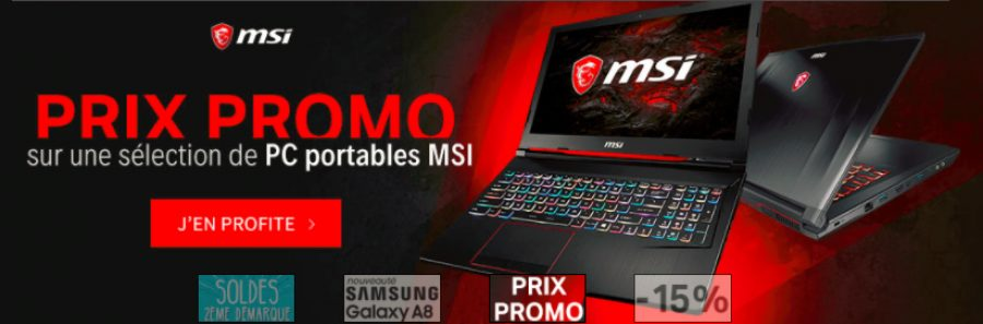 prix promo sur une s lection de pc portable gamer msi config. Black Bedroom Furniture Sets. Home Design Ideas