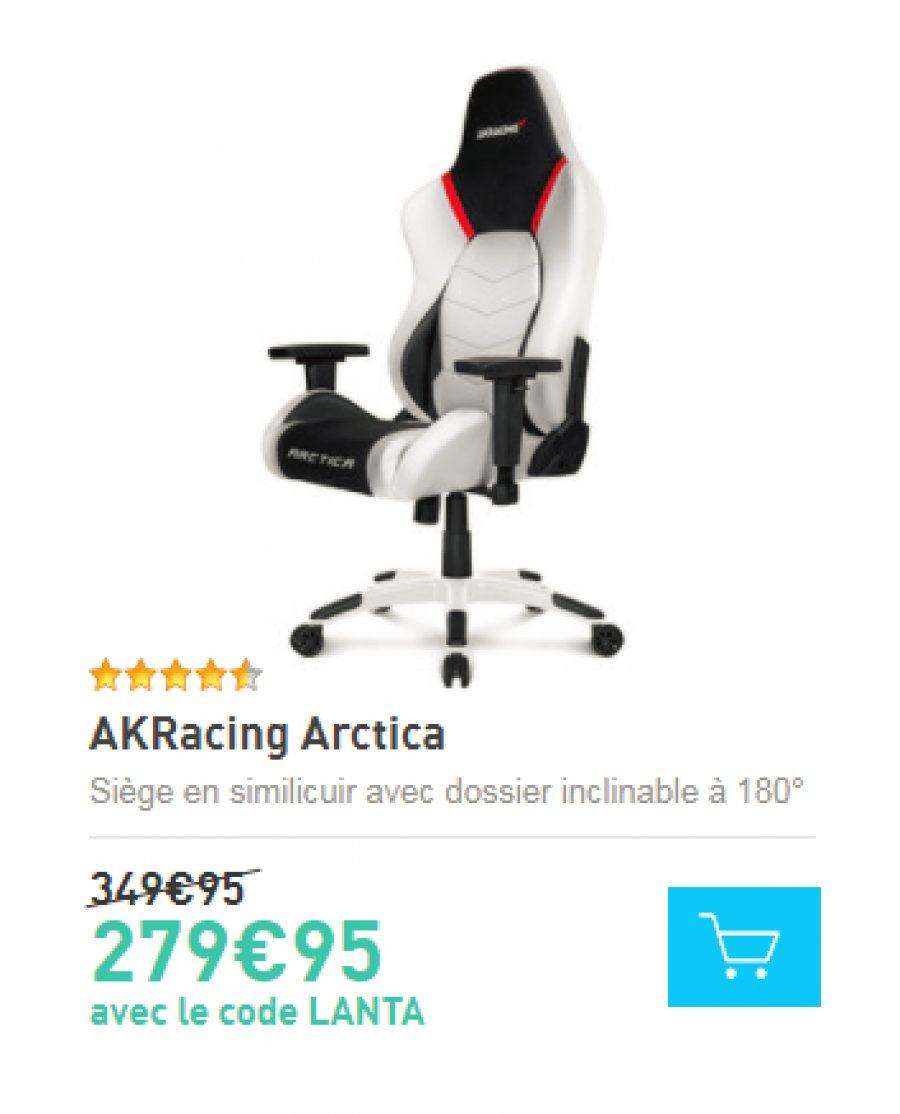 bon plan ldlc akracing arctica 279 au lieu de 349 95 config. Black Bedroom Furniture Sets. Home Design Ideas