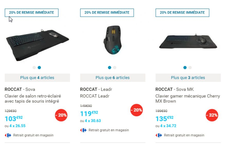 bon plan 20 de r duction sur une s lection de produits roccat config. Black Bedroom Furniture Sets. Home Design Ideas